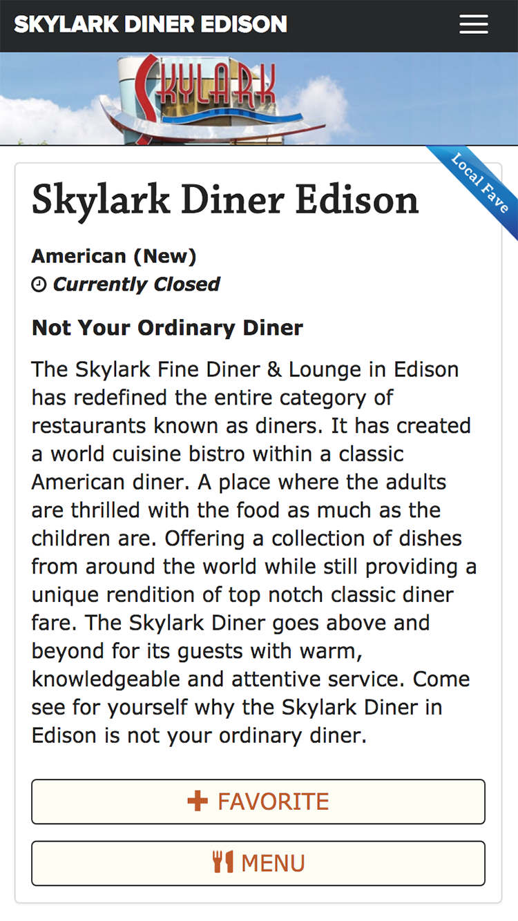 Restaurant profile of Sklyark Diner offering food delivery