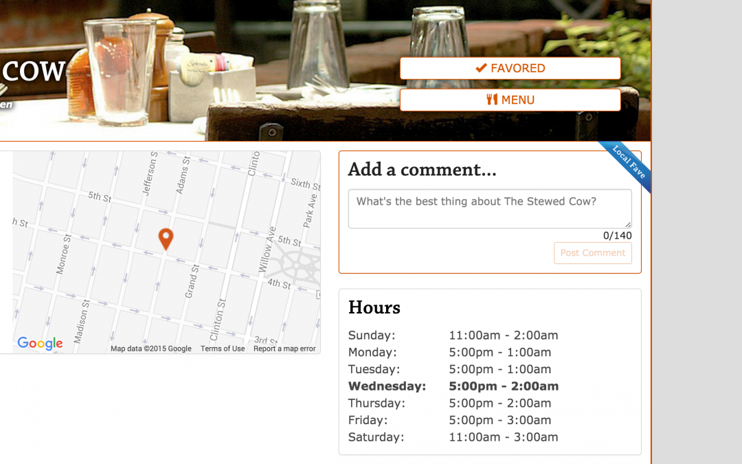 'Local Fave' Button for Restaurants