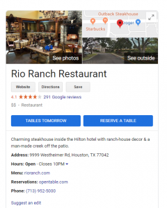 This is what a Google Restaurant Listing looks like